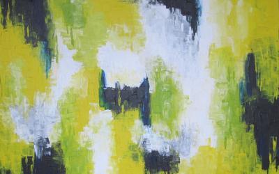 60 x 80 cm Sol Gul Lys Grøn Liv
