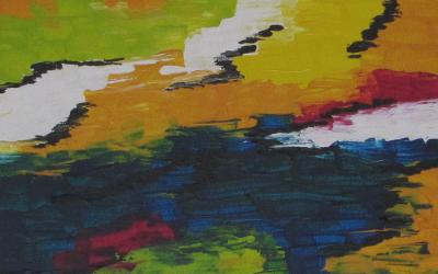Abstrakt landskab 30x30 cm