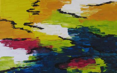 Abstrakt landskab 30x40 cm