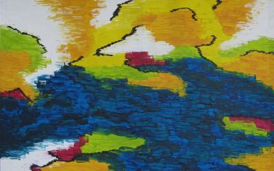 Abstrakt landskab 70x90 cm