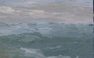 Blege og kølige farver ved havet 20 x 20 cm
