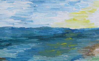 Hav og eftermiddags-sol 20 x 20 cm