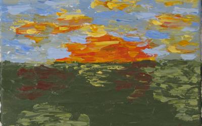 Landskab. En fantastisk spændende, rød og orange solopgang i marts. 20x20cm