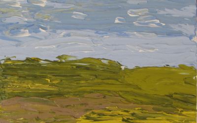 Landskab. En oktoberdag med brune og matgrønne livløse marker på vej i dvale. 20x20cm