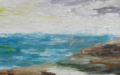 Landskabsmaleri Klitter og Vesterhav 30x30 cm