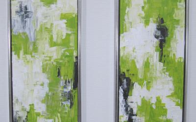 Lime grønne malerier 30 x 90 cm