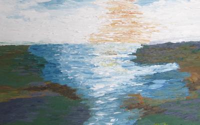 Lyngklædte bakker ned mod fjorden 30x30 cm